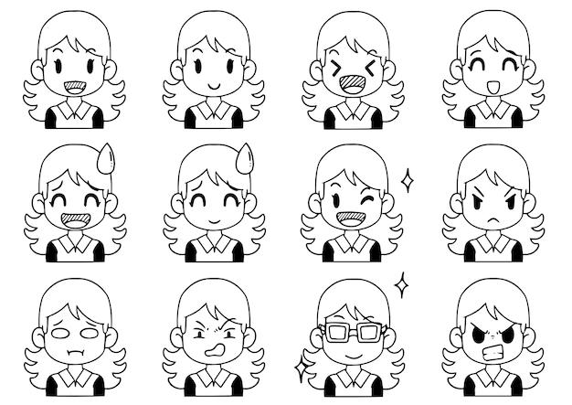 Collezione disegnata a mano simpatico cartone animato di avatar divertenti, diverse emozioni