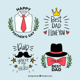 Collezione disegnata di distintivi di festa del papà in mano stile disegnato