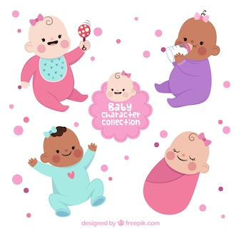 Collezione disegnata in stile babies in mano