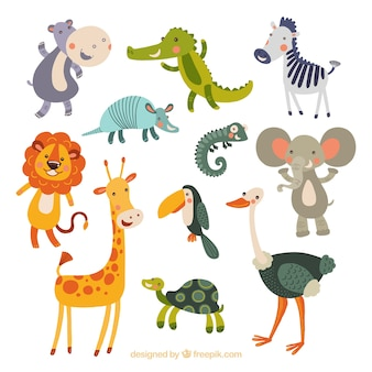 Collezione divertente di animali disegnati a mano