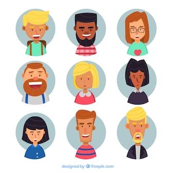 Collezione divertente di avatar felici