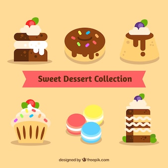 Collezione dolci dessert in stile piatto