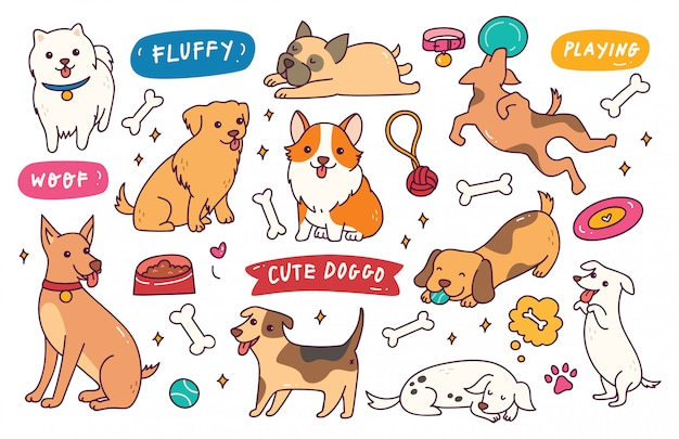 Collezione doodle disegnato a mano di posa del cane
