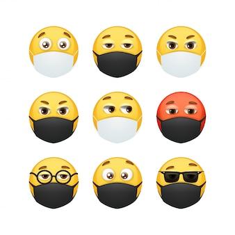 Collezione emoji maschera e respiratore