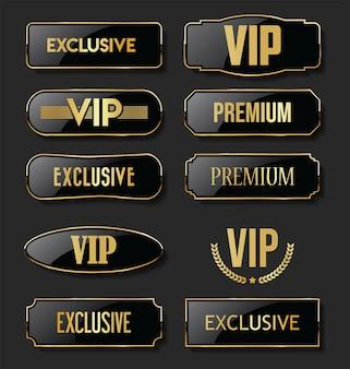 Collezione esclusiva di etichette nere e dorate vip e premium