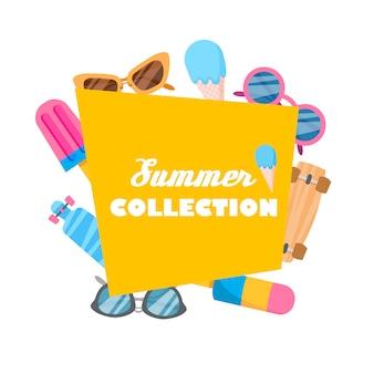 Collezione estiva di oggetti.
