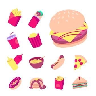 Collezione fast food piatta