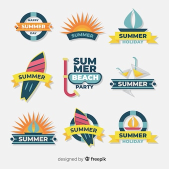 Collezione flat summer badge