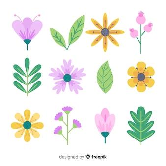Collezione floreale piatta