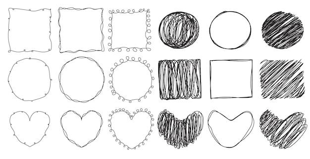 Collezione fuzzy doodle line art frame