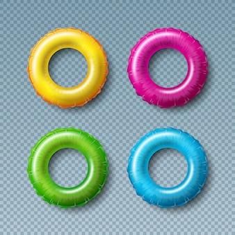 Collezione galleggiante colorato isolato su trasparente