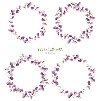 Collezione ghirlanda floreale con piccolo fiore viola
