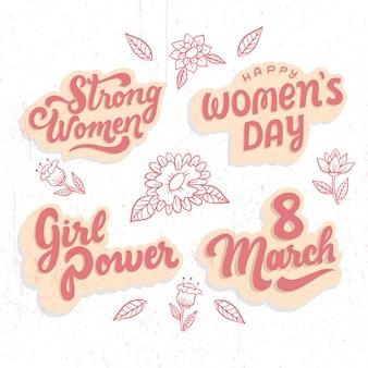 Collezione giorno delle donne distintivo lettering potere femminile