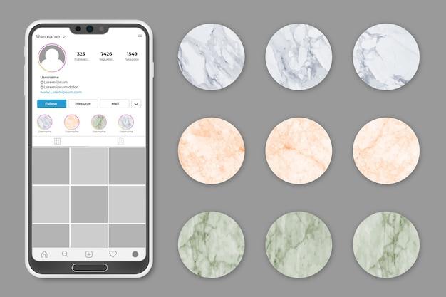 Collezione highligts di storie in marmo di instagram