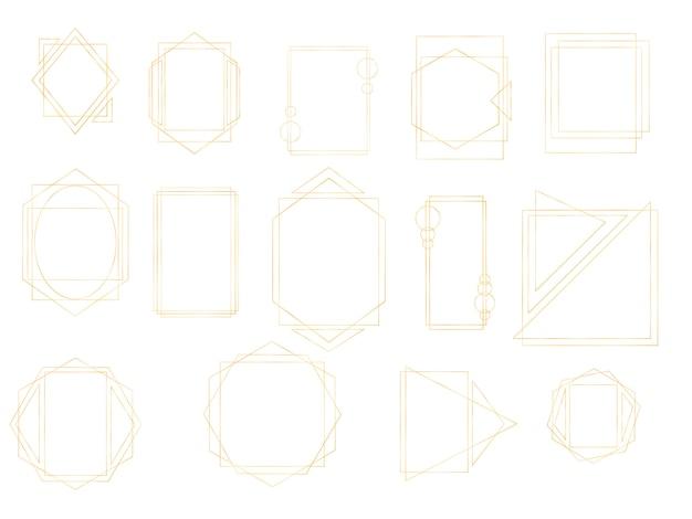 Collezione in oro di poliedro geometrico. rettangolo realistico vintage di lusso dorato