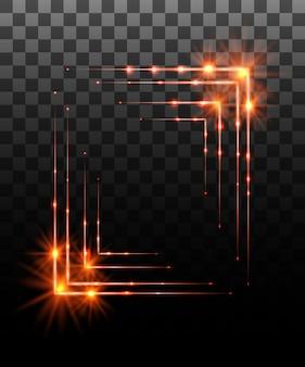 Collezione incandescente. effetto cornice bordo arancione, effetti di luce su sfondo trasparente. riflesso lente di luce solare, stelle. elementi luminosi. illustrazione
