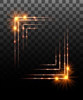 Collezione incandescente. effetto cornice bordo dorato, effetti di luce su sfondo trasparente. riflesso lente di luce solare, stelle. elementi luminosi. illustrazione