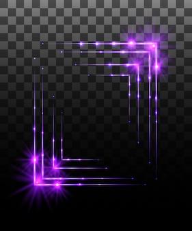 Collezione incandescente. effetto cornice bordo viola, effetti di luce su sfondo trasparente. riflesso lente di luce solare, stelle. elementi luminosi. illustrazione