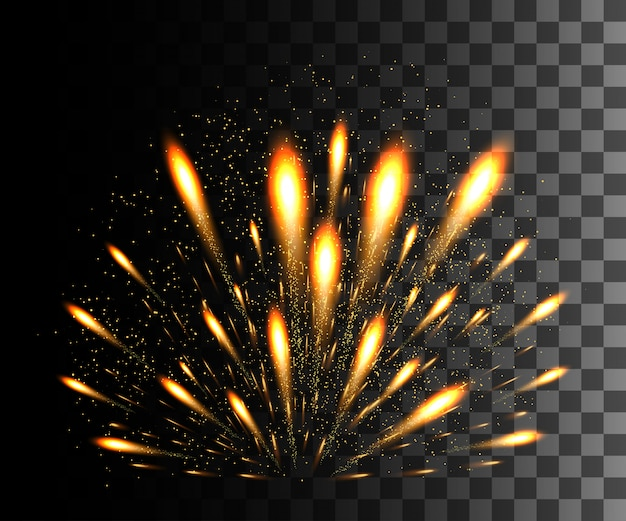Collezione incandescente. fuochi d'artificio d'oro, effetti di luce su sfondo trasparente. riflesso lente di luce solare, stelle. elementi luminosi. fuochi d'artificio natalizi. illustrazione
