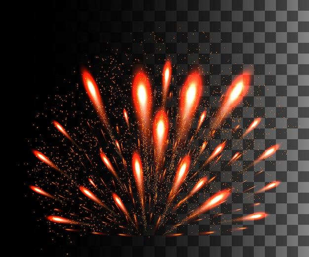 Collezione incandescente. fuochi d'artificio rossi, effetti di luce su sfondo trasparente. riflesso lente di luce solare, stelle. elementi luminosi. fuochi d'artificio natalizi. illustrazione