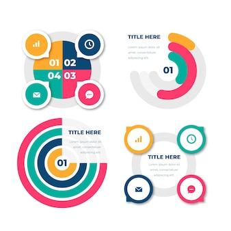 Collezione infografica radiale piatta