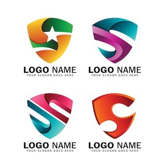 Collezione iniziale di logo design scudo lettera s, logo per affari e simbolo aziendale o identità