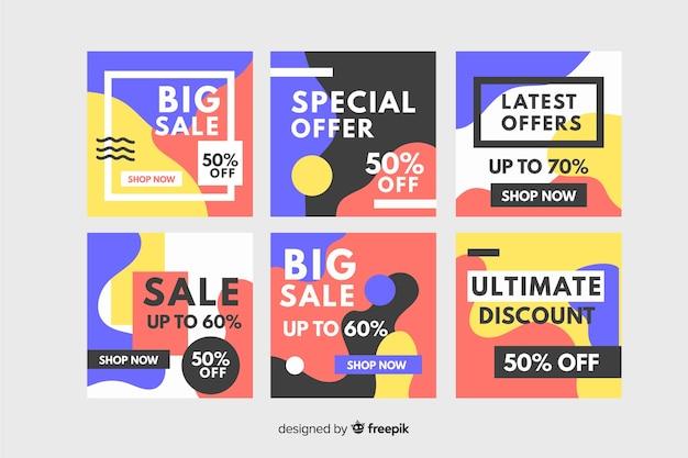 Collezione instagram design di memphis