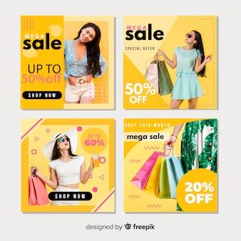 Collezione instagram di banner moda donna