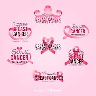 Collezione internazionale di badge per la consapevolezza del cancro al seno