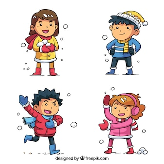 Collezione invernale di bambini che giocano a palle di neve