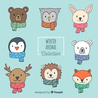 Collezione invernale di facce di animali