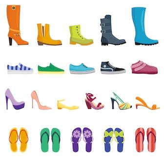 Collezione isolata di scarpe diverse