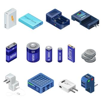 Collezione isometrica di caricabatterie e batterie