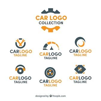 Collezione logo auto nera e arancione