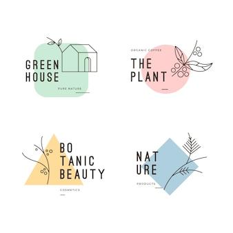 Collezione logo aziendale naturale in stile minimal