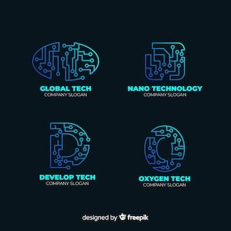 Collezione logo blu tecnologia gradiente