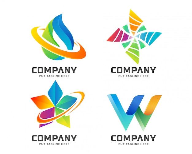 Collezione logo colorato astratto