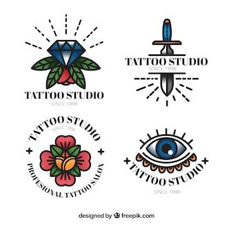 Collezione logo colorato tatuaggio