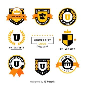 Collezione logo colorato universitario con design piatto