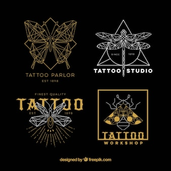 Collezione logo del tatuaggio d'oro e argento