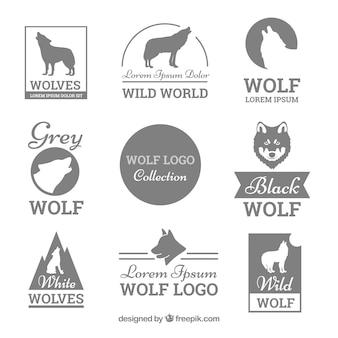Collezione logo di lupo in scala di grigi