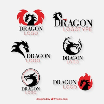 Collezione logo dragon con design piatto