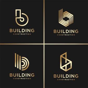 Collezione logo edificio, dorato, moderno, concetto, sfumatura, immobiliare, premium