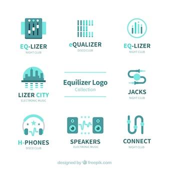 Collezione logo equalizzatore con design piatto