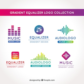 Collezione logo equalizzatore con stile sfumato