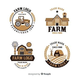 Collezione logo fattoria in stile piatto