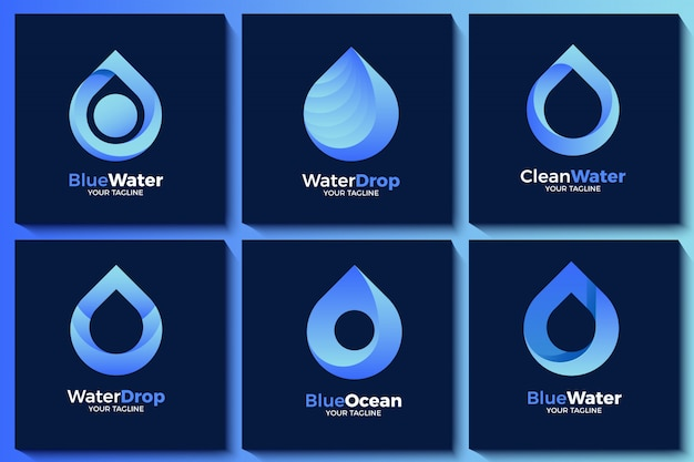 Collezione logo goccia d'acqua