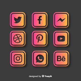 Collezione logo gradiente social media
