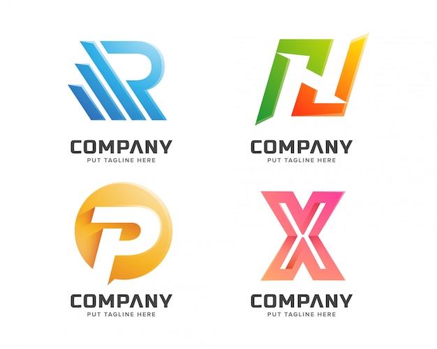Collezione logo lettera logo astratto azienda business