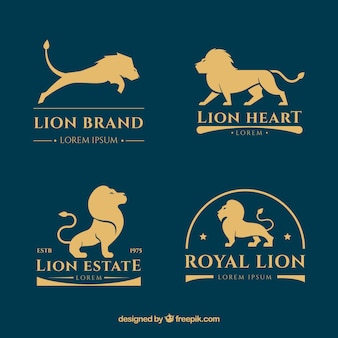 Collezione logo lion con stile d'oro